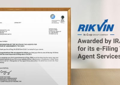 Rikvin (In.Corp Group Company) Awarded by IRAS for Its E-Filing Tax Agent Services