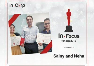 In.Focus Awardees for January: Sainy and Neha